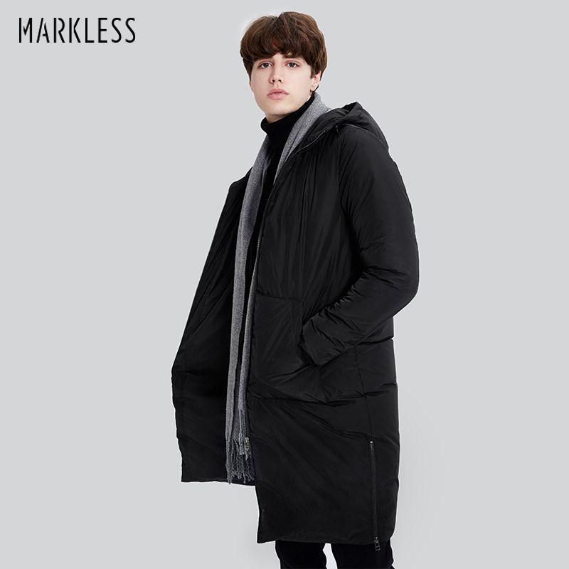 Markenlose Marke 2017 Winter Warm Langen Dicken Daunenjacke Männer Casual Mit Kapuze Parkas Männlich Winter Oberbekleidung Warme Daunenjacke YRA7307M