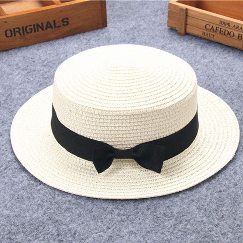 Enfant fille garçon adulte mâle femme été chapeau britannique rétro arc princesse curling paille chapeau dôme toit plat plage crème solaire 53-2