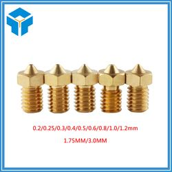 5PCS.3D printer accessory 3D V6&V5 J-Head brass nozzle extruder nozzles 0.3/0.4/0.5mm For 1.75/3.0mm supplies 3D printer part