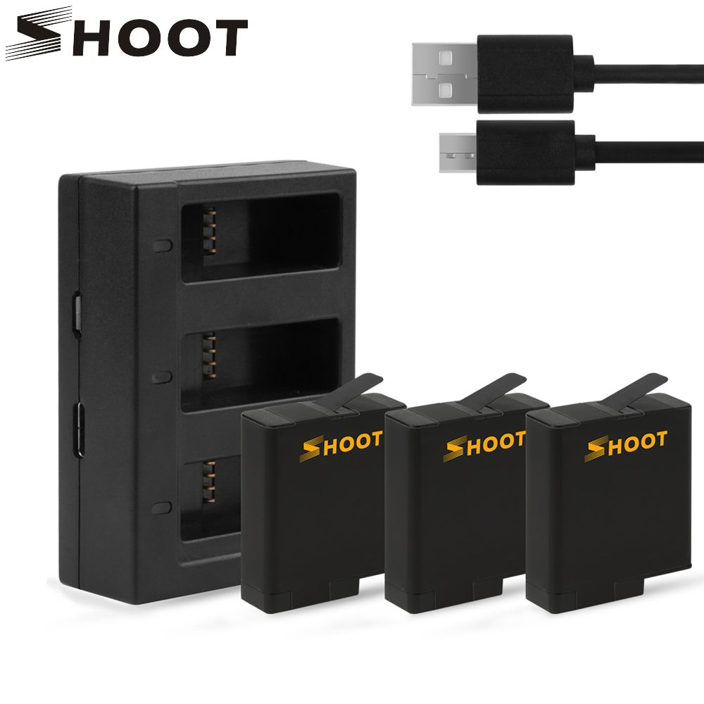SHOOT 3Pcs AHDBT-501 Battery with Three Ports USB Charger for GoPro Hero 6 5 Black Camera for Go Pro Action Camera Accessory Set