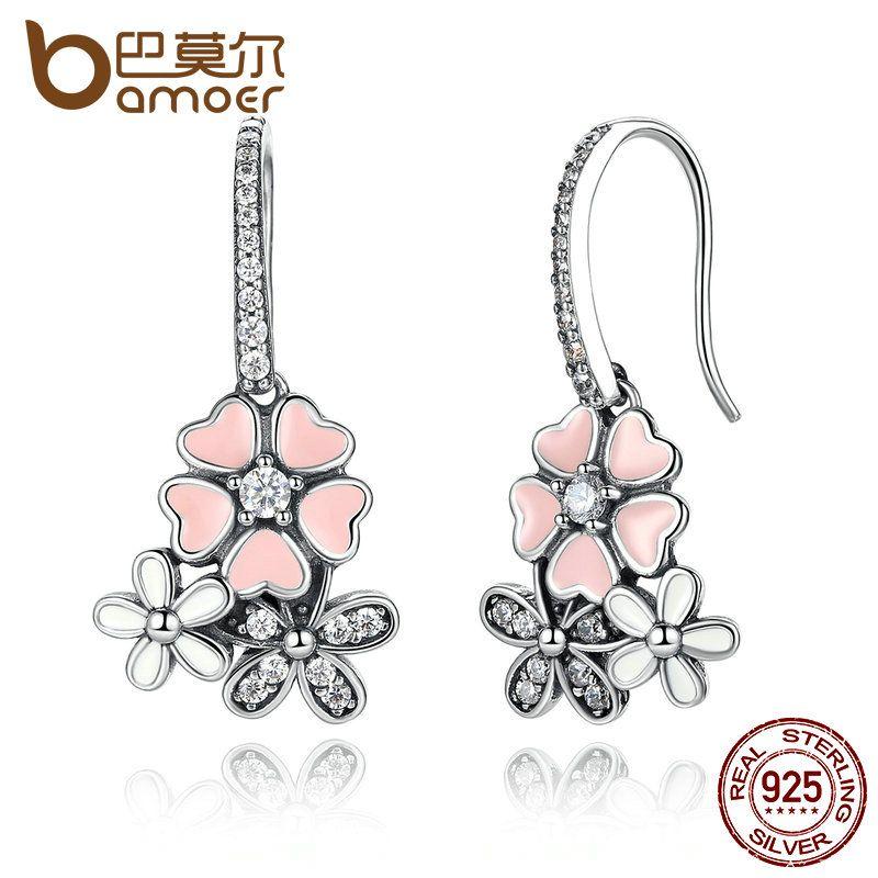 BAMOER Luxury 100% 925 Sterling Silver Pink Flower Poetic Daisy Cherry Blossom Drop Earrings Jewelry SCE016
