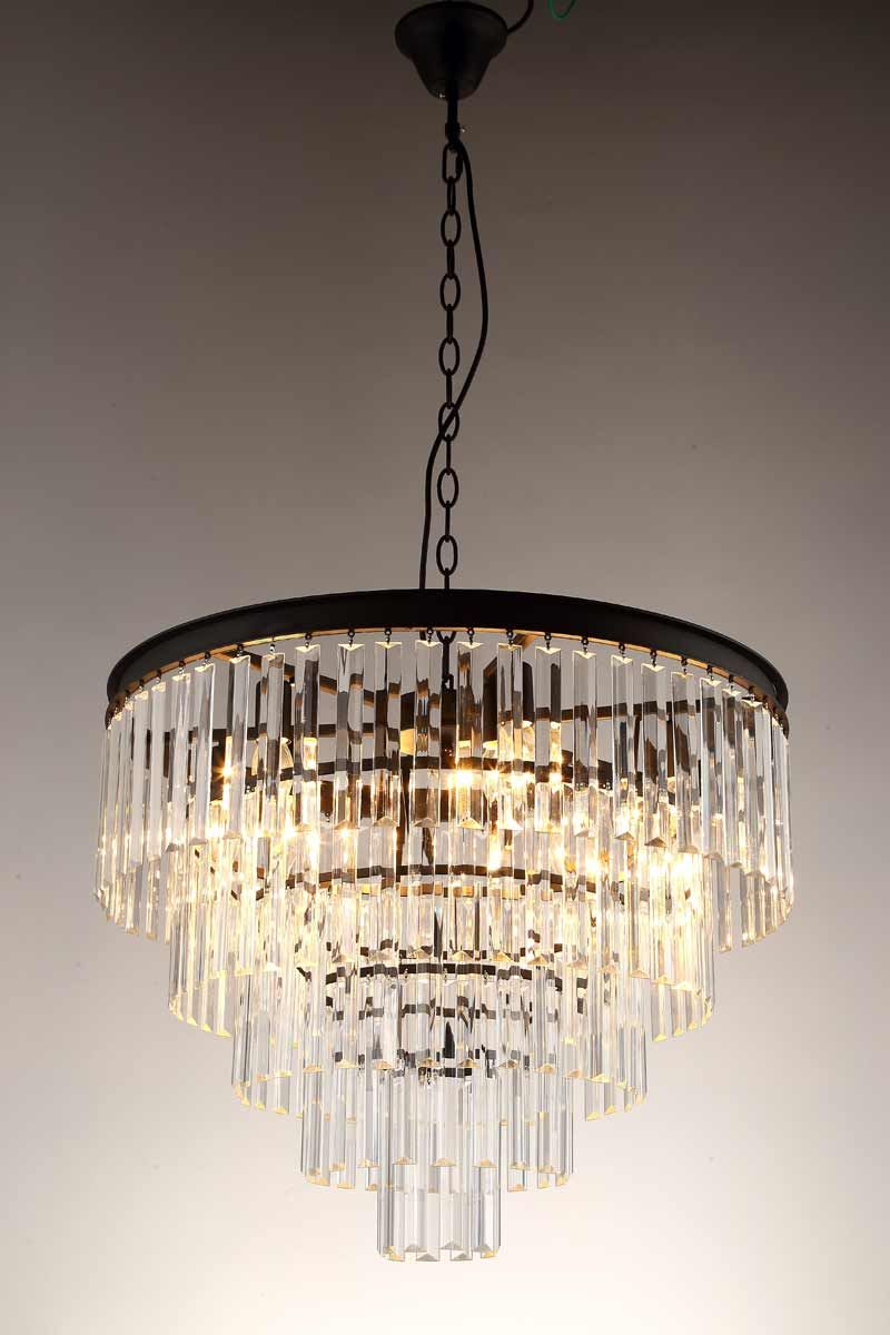American Country Pendant Light Vintage Crystal Lamps for Living Room Kitchen Black Iron Retro Decor Home Lighting Fixtures 220V