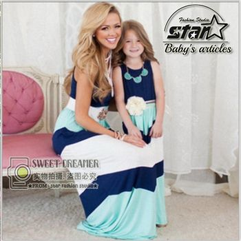 Mommy and Daughter  Matching Dresses 2016 Summer Mother and Kids Girls Matching Outfits Stripe Dress Family Matching Clothes