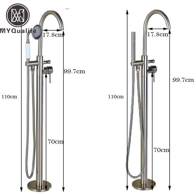 Best Quality Brushed Nickel Free Standing Bathtub Faucet Taps One Handle with Handshower Bathroom Floor Mounted Tub Filler