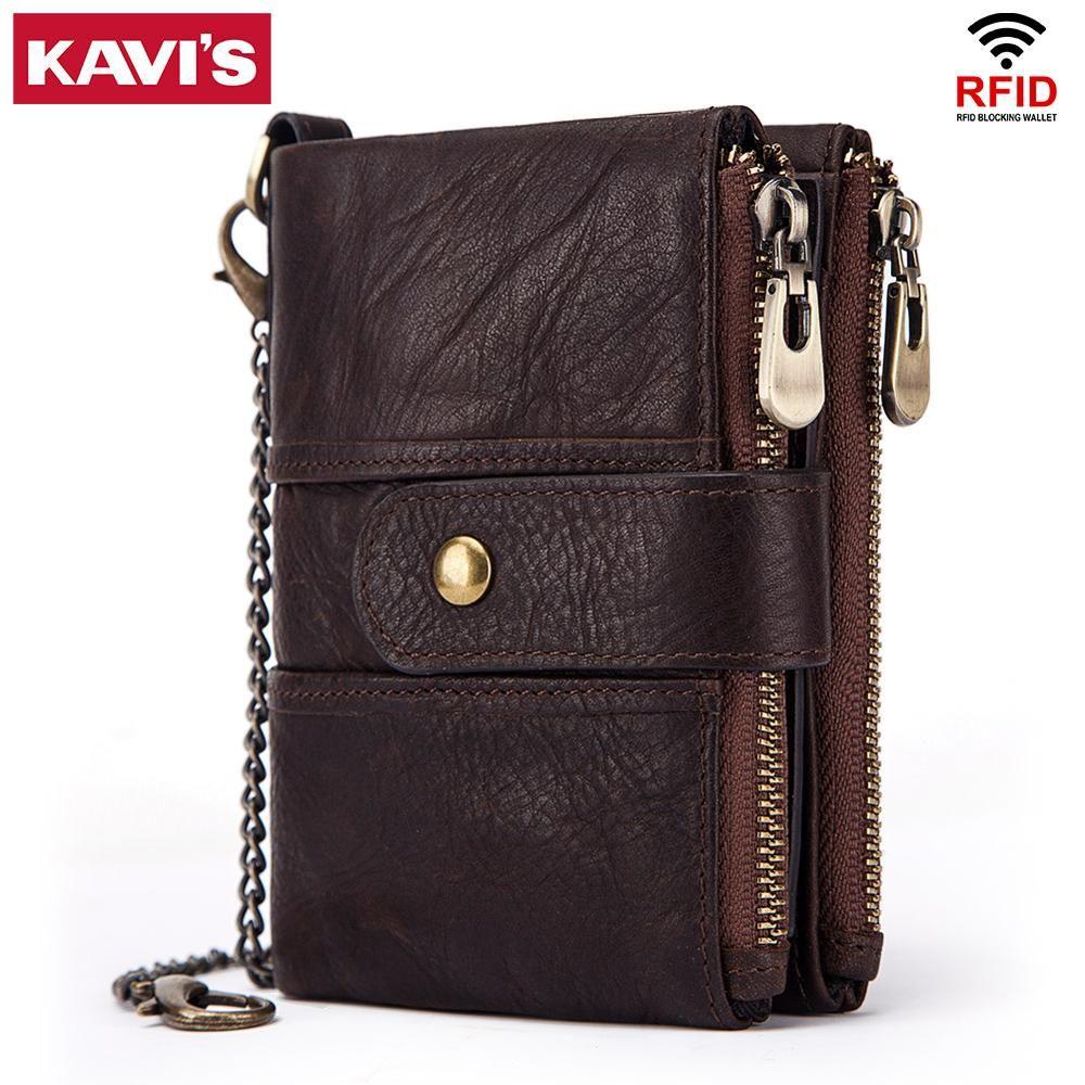 KAVIS 100% en cuir véritable Rfid portefeuille hommes Crazy Horse portefeuilles porte-monnaie court homme sac d'argent de qualité Designer Mini Walet petit