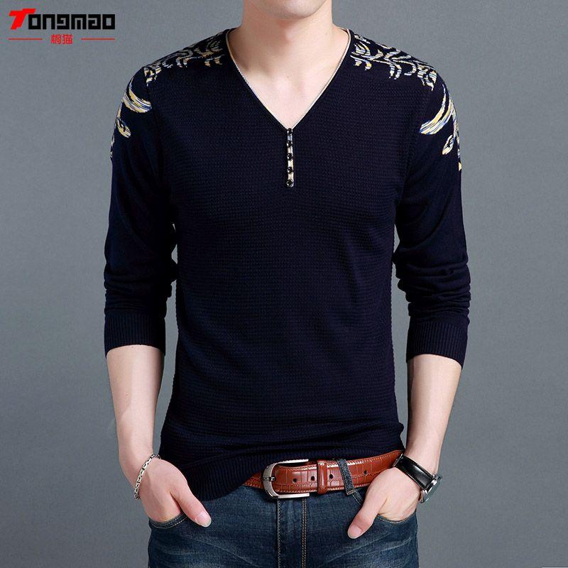 2017 herbst Winter Neue Warme Kaschmir Wolle Pullover Männer Kleidung mode-Taste V-ausschnitt Solide Pullover Männer Soft Slim Fit Pull Homme