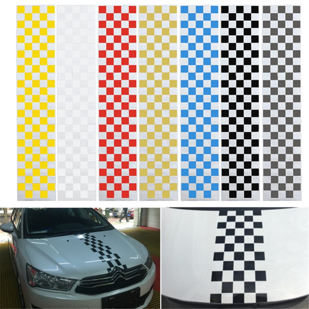Car Auto SUV Hood Scratched Check Stickers Engine Cover Styling Decal Vinyl DIY Decoration PVC 7Colors