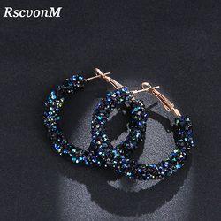 RscvonM новый дизайн модный очаровательный австрийский хрусталь серьги-кольца геометрический Круглый Блестящий горный хрусталь большая серь...