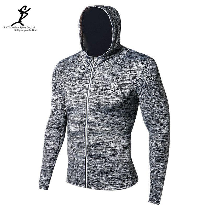 Frühling Männer Outdoor-Sport Jacke Lauf Hoodie Professioneller Reißverschluss Gym Sweatshirt Reflektierende Trainingssportkleidung Crossfit Tops