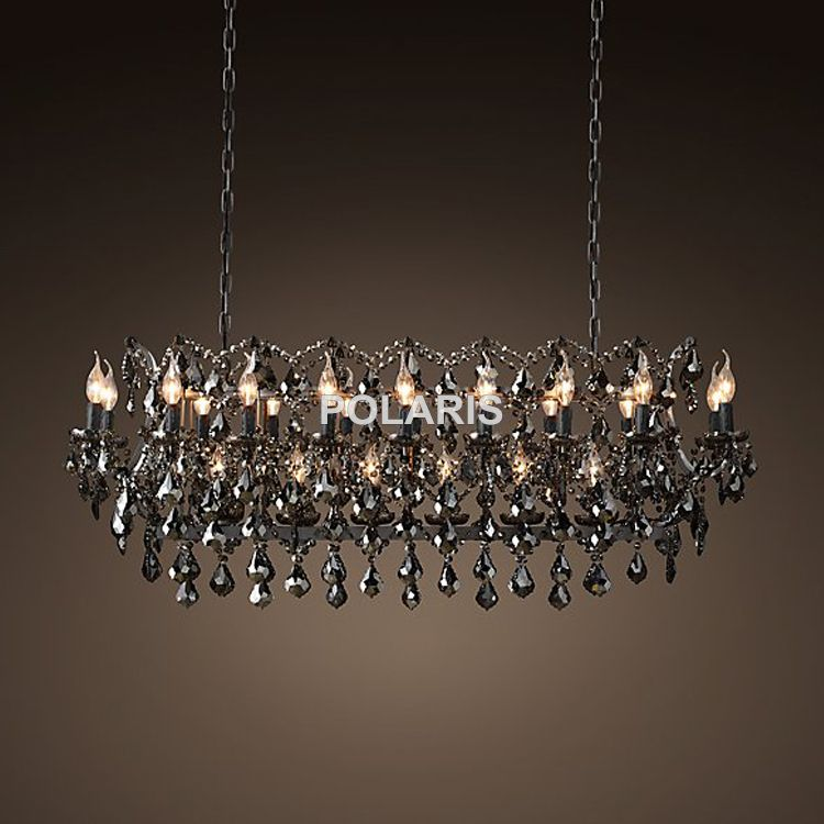 Vintage Smoky Crystal Chandelier Lighting Black Candle Chandeliers Pendant Lamp Hanging Light for Home and Restaurant