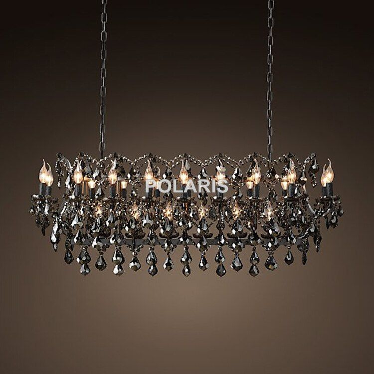 Vintage Smoky Kristall Kronleuchter Beleuchtung Schwarze Kerze Kronleuchter Pendelleuchte Hängeleuchte für Haus und Restaurant