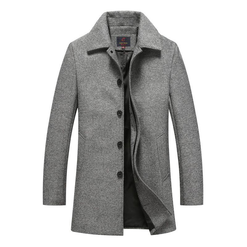 Autumn Winter Single Breasted Woolen Coats Mens Wool Jackets Turn-down Collar Wool Blends Overcoat long cashmere wool coat