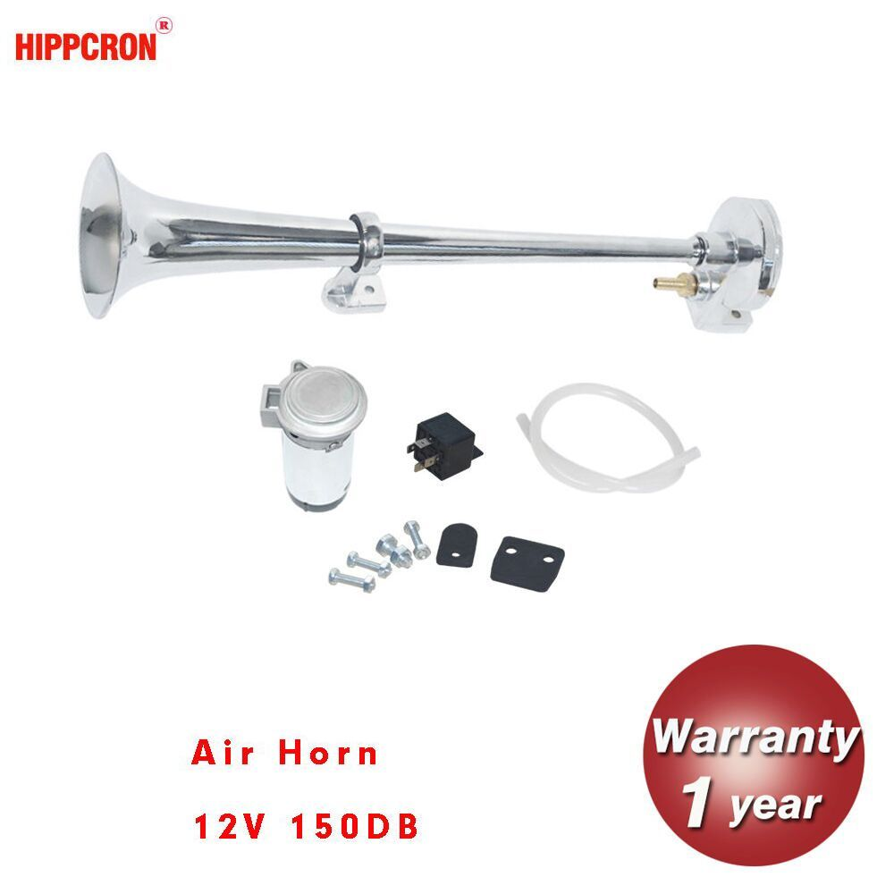hippcron 150DB 12V Air Horn Super Loud Single Trumpet Compressor Complete Set for Trucks Cars Automobiles Lorry Boat Train