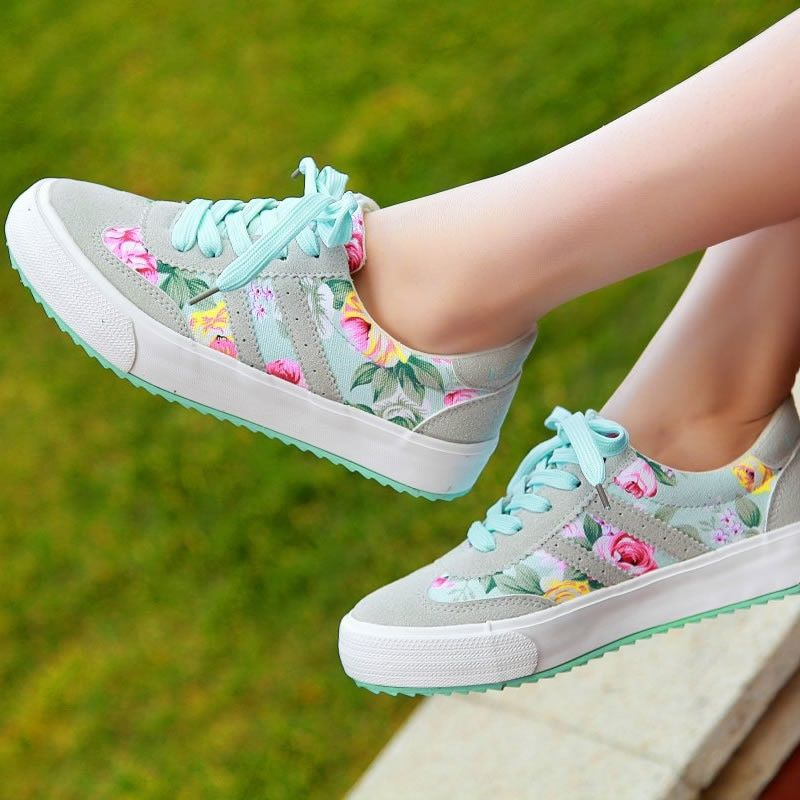 Women casual shoes printed casual shoes women canvas shoes 2017 new arrival fashion sneakers