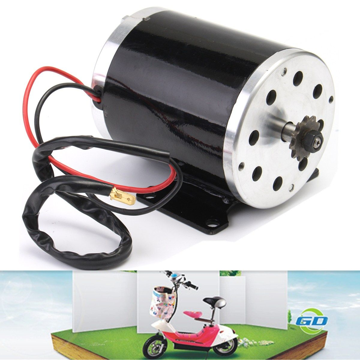 1Pcs 500W 24V DC electric brush ZY1020 Motor with Base for Escooter for Ebike Kart DIY Project