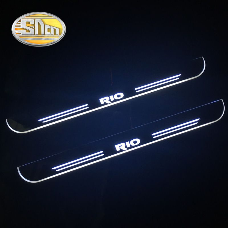 SNCN Waterproof Acrylic Moving LED Welcome Pedal Scuff Plate Pedal Door Sill Pathway Light For Kia Rio K2 2010 2011 - 2017 2018