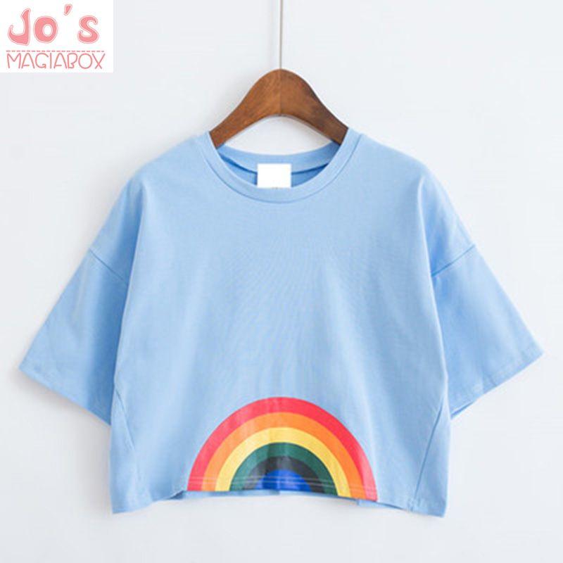 2017 Cartoon Kawaii harajuku t-shirt femmes vêtements amour imprimé chemise arc-en-ciel chien chat Floral mignon t-shirt femmes top t-shirt licorne