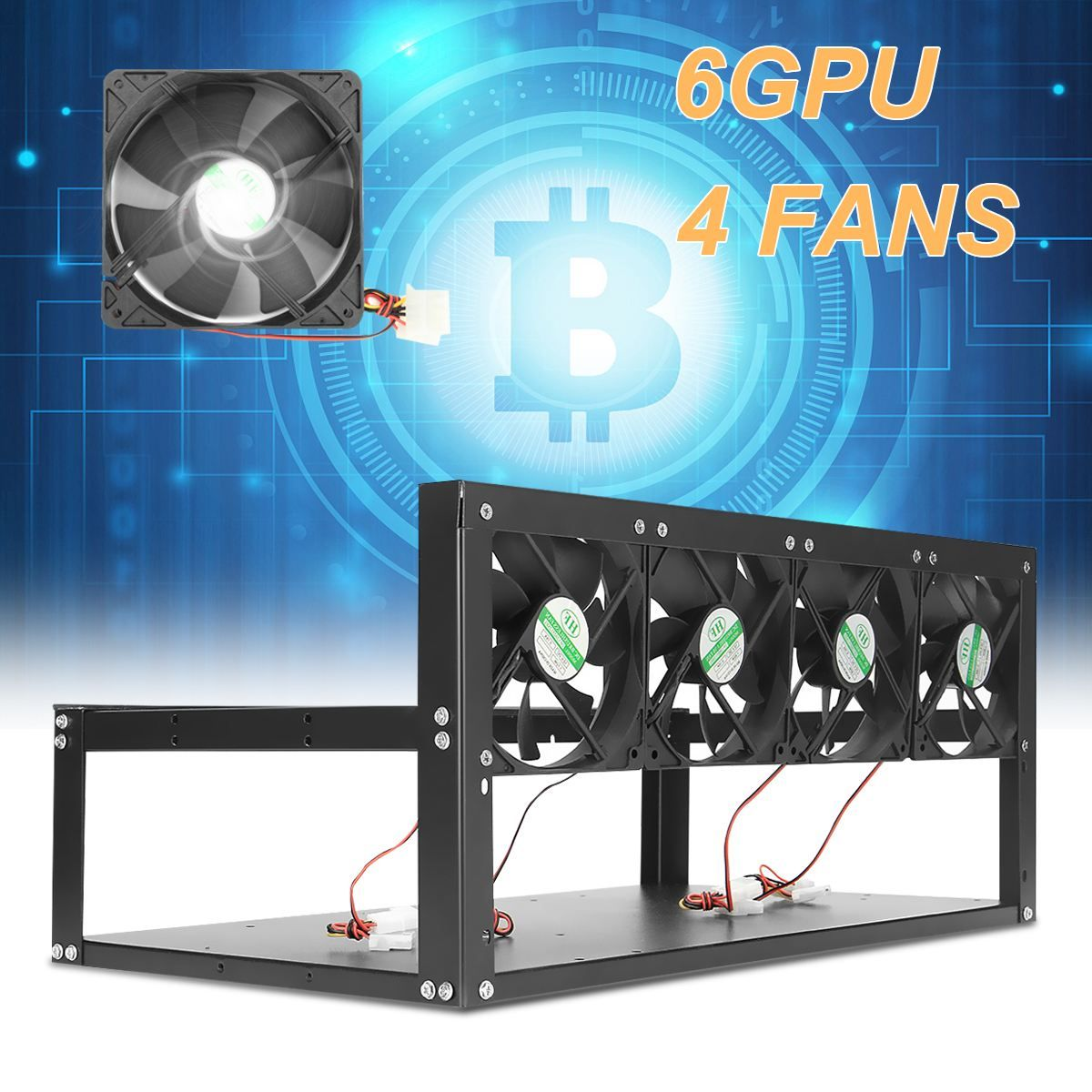 6 GPU 4 Fans Open Air Pro <font><b>Mining</b></font> Computer Alloy Case Frame Rig 4 for 6 GPU ETH BTC ZEC Ethereum