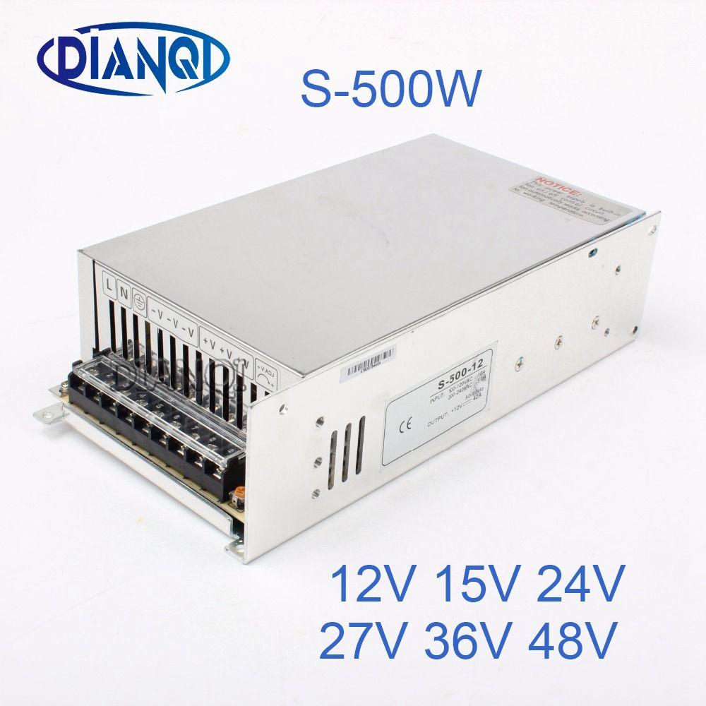DIANQI 48V Switching Power Supply 500w 5V 12V 15V ac to dc converter ac dc transform for LED strip 24V 27V 36V S-500 adjustable