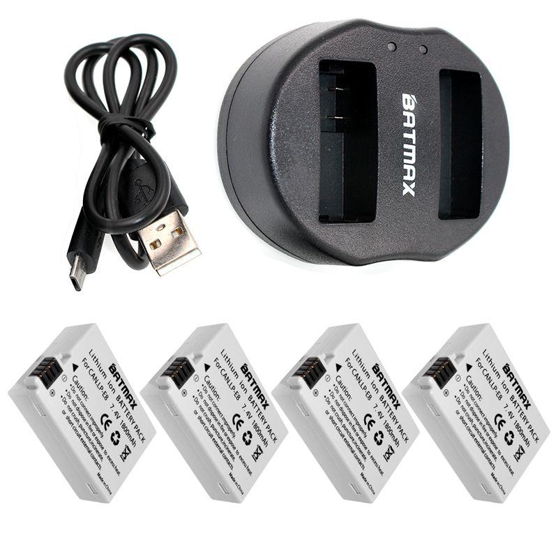 4PCS Digital Batteries Li-ion LP-E8 LP E8 Battery Pack + Dual USB Charger for Canon LP-E8 EOS 550D, 600D, 650D, 700D