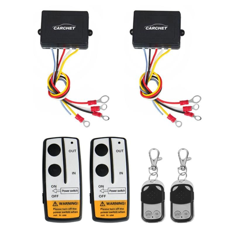 CARCHET Winch DC 12V Remote Control 2 sets Wireless Winch Remote Control Kit DC 12V 50 Feet for Jeep Truck SUV ATV