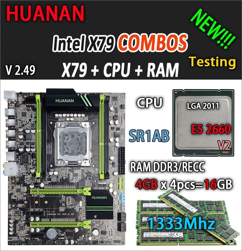 HUANAN golden V2.49 X79 motherboard LGA2011 ATX combos E5 2660 V2 SR1AB 4 x 4G 16GB 1333Mhz USB3.0 SATA3 PCI-E NVME M.2 SSD