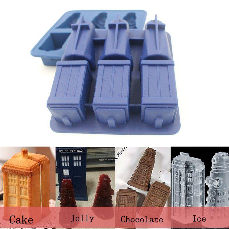 Cuisson décoration docteur qui Daleks Tardis & sonique tournevis silicone cuisson pâtisserie design silicone gâteau moule livraison gratuite