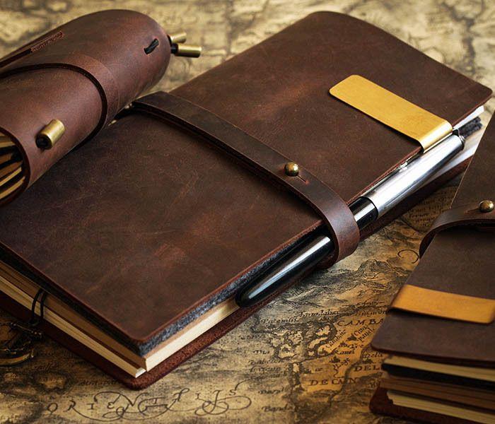 Vintage Journal portable Journal en cuir blanc couverture Journal en cuir véritable carnet de voyage D0407