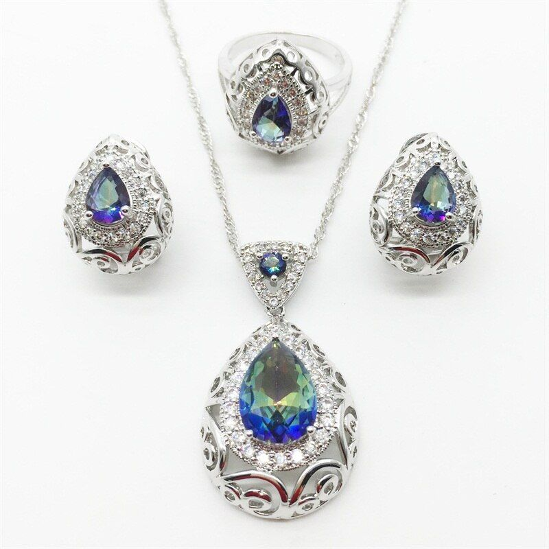 Charm Hollow Heart 925 Sterling Rainbow color Jewelry Set Earrings/Pendant/Necklace/Ring For Women Free Shipping