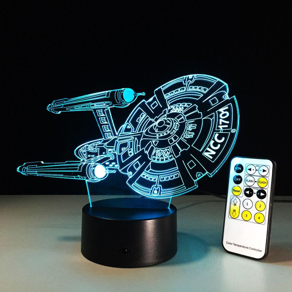 Star Trek Figure 3D Led Night Light Lamp Vaisseau Spatial Coloré USB LED Acrylique Éclairage Star Trek Action Figure
