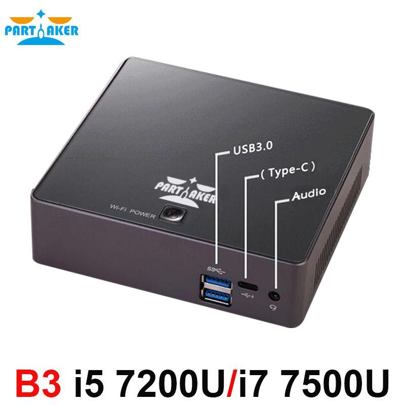Partaker B3 7th Gen Kaby Lake Win10 Mini PC 4K HTPC MINI PC Nuc HD Graphics 620 With Intel Core Intel Core i5 7200U i7 7500U