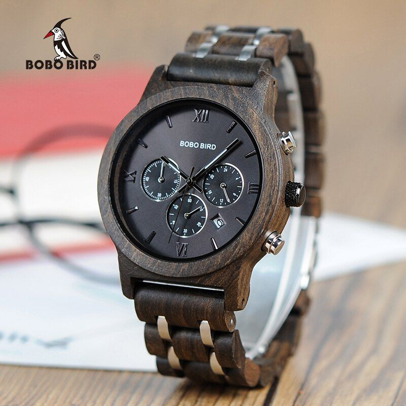 BOBO BIRD Wood Watches Men Business Luxury Stop Watch Color <font><b>Optional</b></font> with Wood Stainless Steel Band V-P19