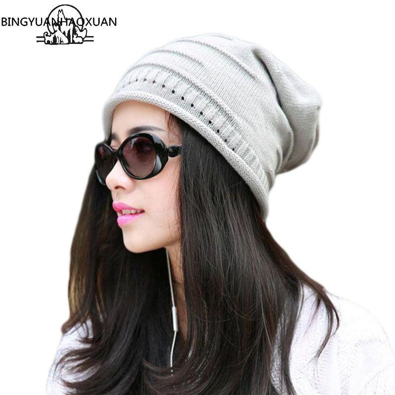 BINGYUANHAOXUAN Couture Caps Warm herbst-winter Strickmützen für Frauen in Streifen zweistöckigen Skullies Für Männer Caps 6 farbe