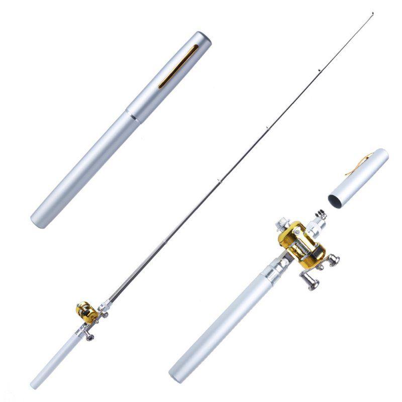 New Metal Portable Pocket Telescopic Mini Fishing Pole Pen Shape Folded Fishing Rod With Reel Wheel Dropshipping