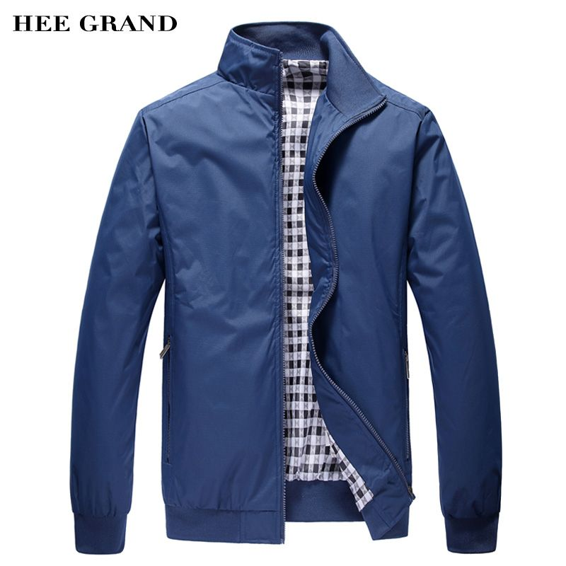 HEE GRAND Men's Jacket Spring Autumn Fashion Overcoat 2018 New Arrival Stand Collar Slim Casual Style <font><b>Whole</b></font> Sale 3 Colors MWJ682