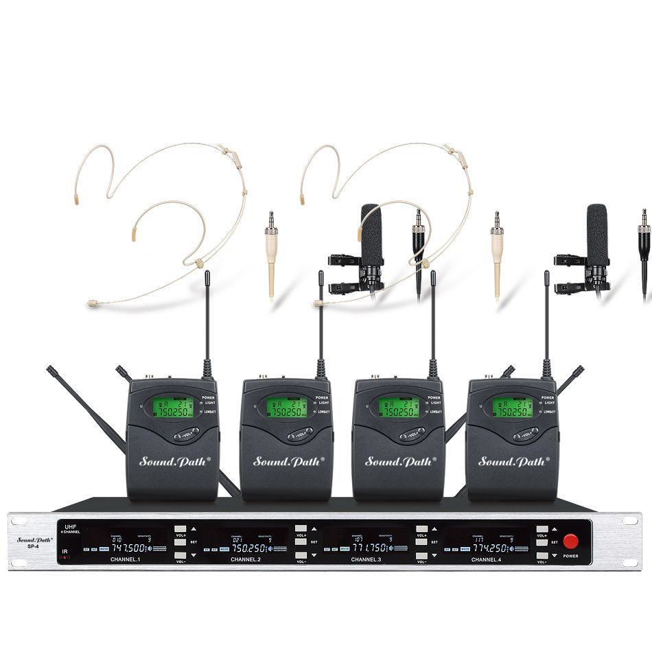 SOUNDPATH professionnel UHF sans fil microphone mic système quatre canal UHF dynamique professionnel véritable diversité microphone