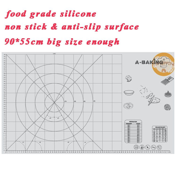 90x55cm Super big size silicone baking sheet with scale non stick cake baking tool Pastry board liner large pastry working mat