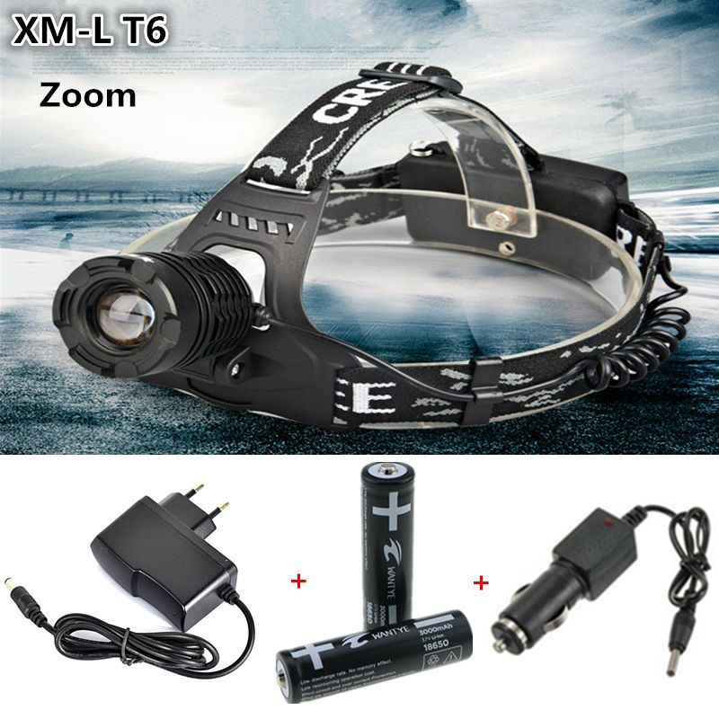 2000Lm Zoom XM-L T6 LED Headlamp Headlight Caming Hunting Head Flashlight torch 3 Modes +2x 18650 Battery + Charger