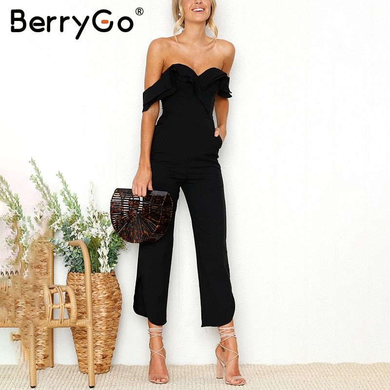 BerryGo Sexy backless off shoulder black jumpsuit women Tiered ruffle high waist jumpsuit romper Split casual overall femme