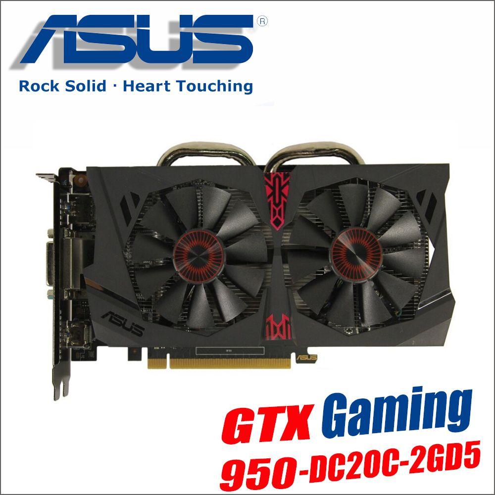 Verwendet original ASUS Video Karte GTX 950 2 gb 128Bit GDDR5 Grafiken Karten für nVIDIA VGA Geforce GTX950 Hdmi Dvi spiel 1050 1050ti
