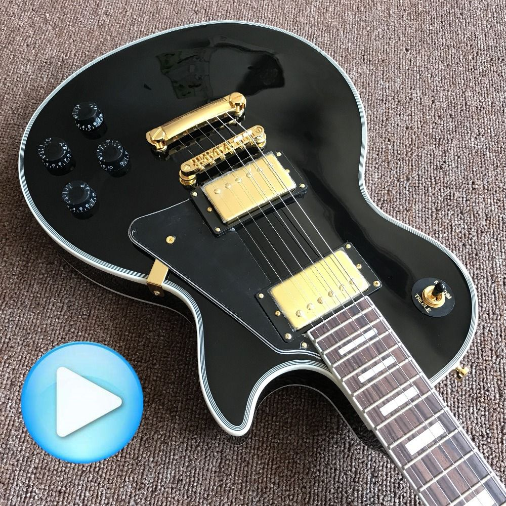 HOT!!!! New style Custom mahogany black color H-H Electric Guitar Golden / CHROME Hardware!
