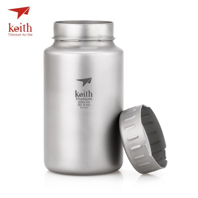 Keith Titanium Bottle Large Capacity Non-threaded Kettle With Kettle Bag 900ml 1200ml