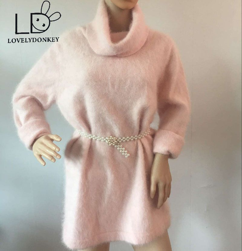 LOVELYDONKEYPlush mink cashmere turtleneck sweater   long loose collar Pullover sweater coat free shipping M464