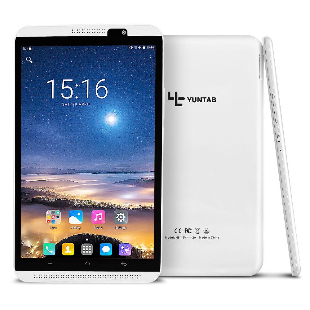 Yuntab 4G tablette 2 couleurs 8 pouces H8 tablette PC Android 6.0 Smartphone haute résolution 1280*800 alphablet Quad-Core avec double caméra