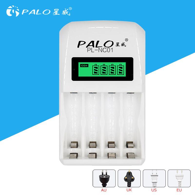 Affichage LCD blanc PALO chargeur de batterie Intelligent Intelligent avec 4 emplacements pour AA/AAA à la fois pour les piles rechargeables NiCd & NiMh