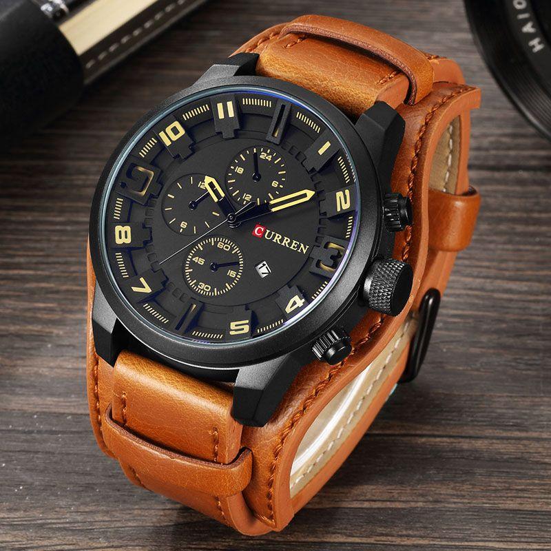 relogio masculino CURREN Watch Men Military Quartz Watch Mens Watches Top Brand Luxury Leather <font><b>Sports</b></font> Wristwatch Date Clock 8225
