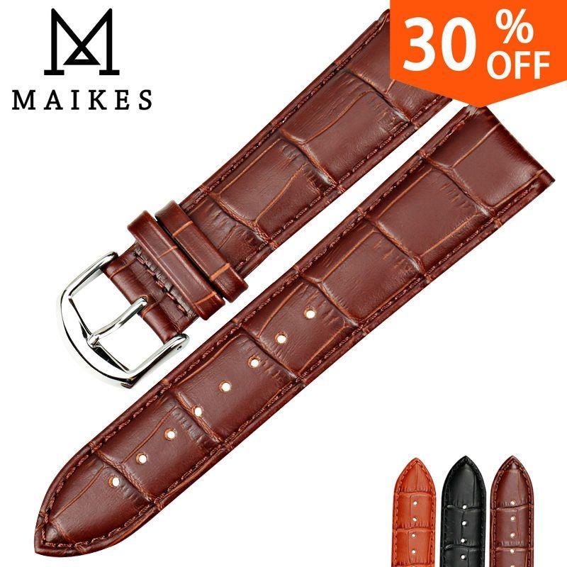 MAIKES nouveaux accessoires de montre montre Bracelet ceinture souple en cuir véritable Bracelet de montre Bracelet de montre 16 18 20 22 24mm bracelets de montre