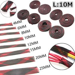 10 M Isolation Fil Tressé gainer Glande Câbles protection Noir + Rouge 4/6/8/10/12/15/20/25mm Serré PET Extensible Câble Manches