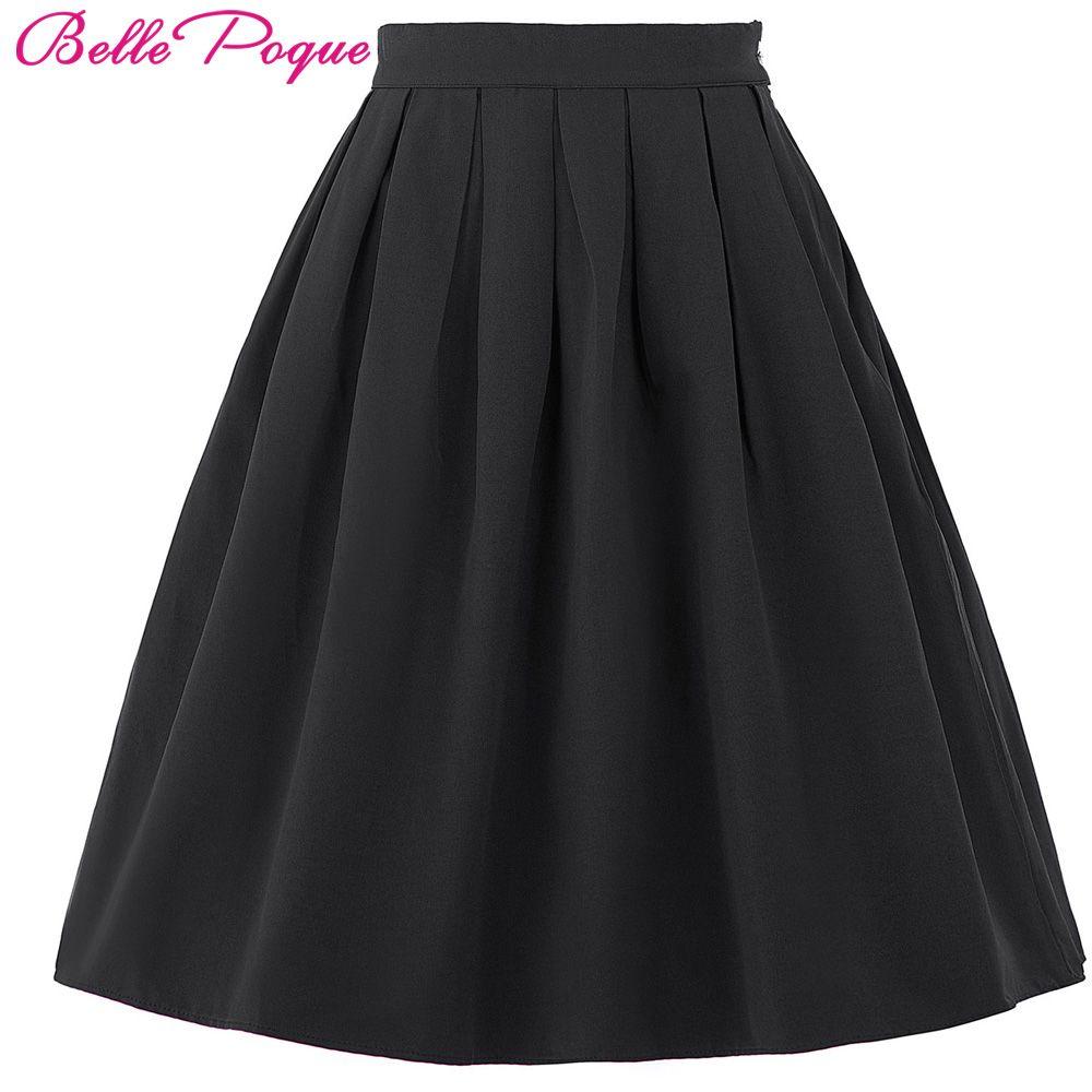 Belle Poque Femmes jupe 2018 D'été Coton Taille Haute Femmes bureau Vintage Plissée Midi Jupes Noir Rouge Patineur Courte Mini jupe
