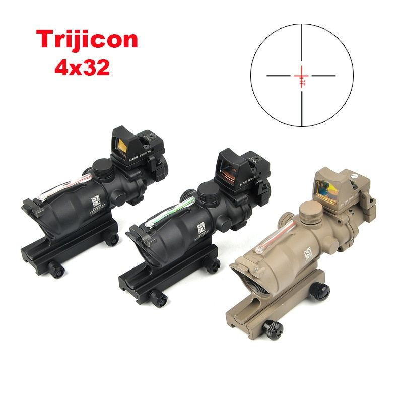 Trijicon ACOG 4X32 Echt Absehen Fiber Optic Scope Red Beleuchtet Anblick Mit Mirco Red Dot Anblick 20mm schiene Jagd Scopes